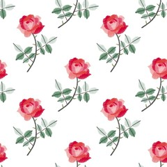 Embroidery seamless pattern with beautiful red roses on white background. Fashion print with flowers. Vector illustration.