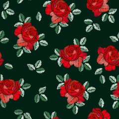 Embroidery seamless pattern in spanish style with red rose flowers on black background. Fashion design. Manton shawl. Vector illustration.