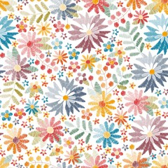 Embroidery seamless pattern with colorful flowers and leaves on white background. Bright summer print. Vector illustration.