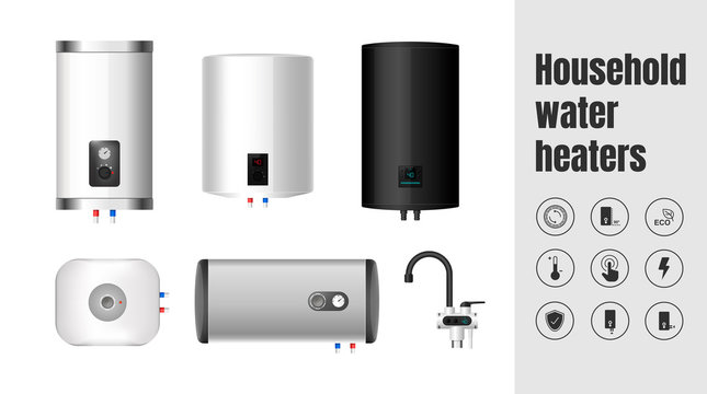 Isolated vector of domestic water heaters. Set of vector icons for characteristics of the water heater.