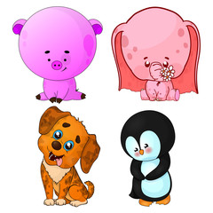Set of vector cartoon animals.