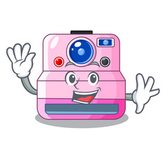 Waving instant camera with revoke cartoon picture