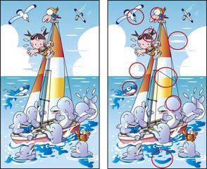 間違い探しクイズ「イルカとヨットの絵の」
