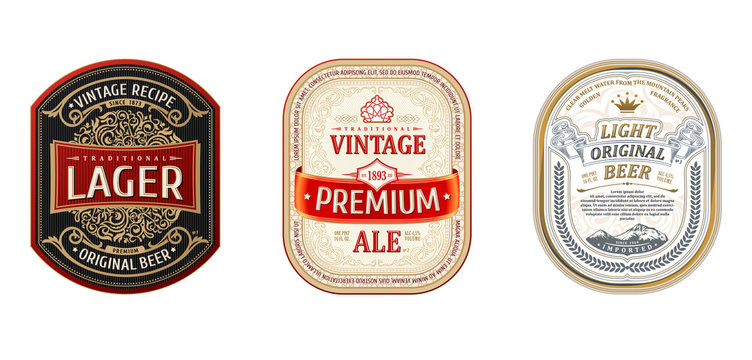 Set of Vintage frames for labels. Gold stickers bottle beer