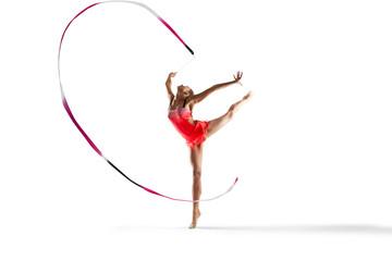 Rhythmic gymnastics isolated on white