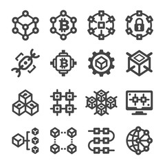blockchain icon set,vector and illustration