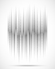 Halftone gradient wave circle dots texture isolated on white background. Grunge backdrop template using halftone pattern. Sound wave. Music audio beat.  Equalizer design element. Vector illustration.