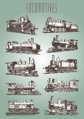 Locomotive engine vintage railway set #vector – Lokomotiven Dampflokomotive Eisenbahn
