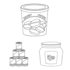 Vector design of can and food logo. Set of can and package stock symbol for web.