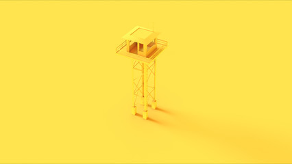 Yellow Watch Tower 3d illustration