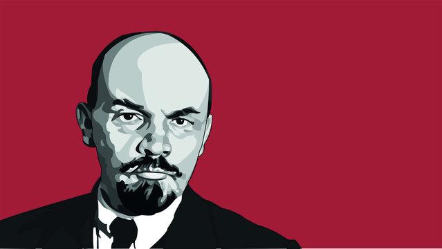 Vladimir Lenin soviet communist vector illustration background