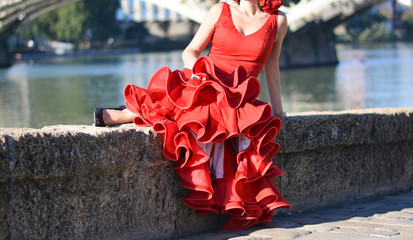 the girl in the flamenco red dress