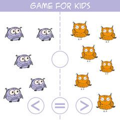 More, less or equal. Owls birds pictures for kids