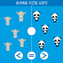 More, less or equal. Goat and panda animals pictures for kids.Cartoon vector illustration