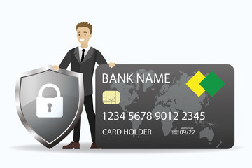 Young caucasian businessman holding credit card and shield with padlock