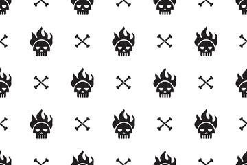 Cartoon skulls seamless pattern background for design.