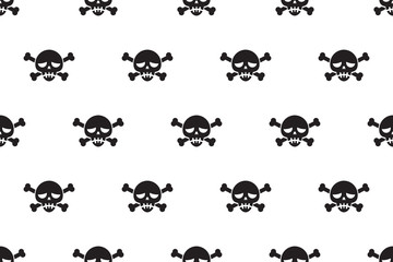Cartoon vector seamless pattern background of skull and bone for design.