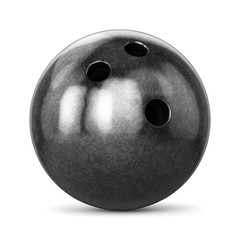 Black glossy bowling ball isolated on white