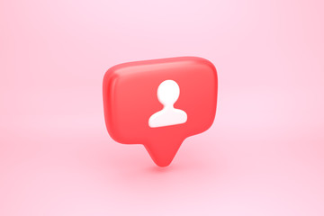 One friend or follower social media notification with heart icon