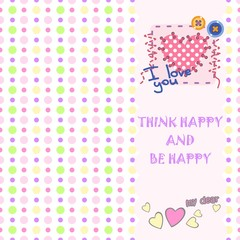 Cover for notebooks, cards, postcards, banners with polka dot background
