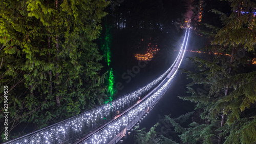 Vancouver Christmas Bridge.Long Exposure At Night Foggy View With Christmas Lights Of