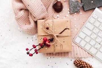 flat lay homemade christmas gift