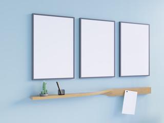 Mockup Poster in art deco style interior. 3d render. 3d illustration