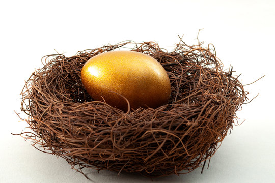 Individual retirement account, personal savings and pension fund concept with close up on a golden egg in a nest symbolizing the accumulated wealth, isolated on white  background
