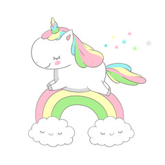 Cute Baby Unicorn Run Above Rainbow Vector Design. Funny Pony Fairy Tale Can be used for t-shirt print, kids wear fashion design, baby shower invitation card
