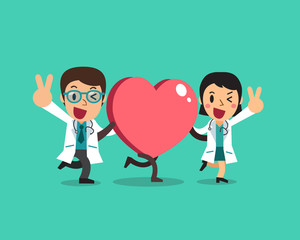 Vector cartoon female doctor and male doctor with big heart sign for design.