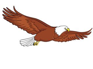 Bird eagle, falcon. Raster of an imitation retro comic style. isolated object on white background