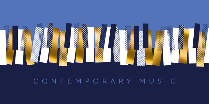 Luxury gold and blue invitation for music concert