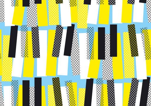 yellow and blue jazz music seamless pattern