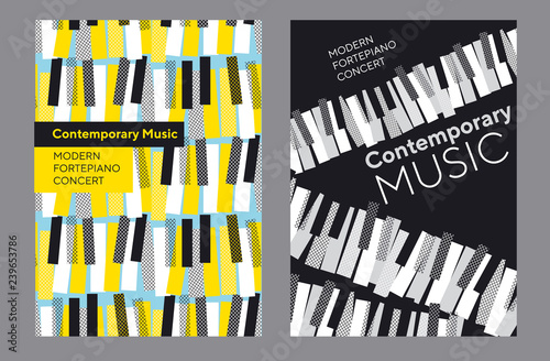 Bright poster set for piano music concert,