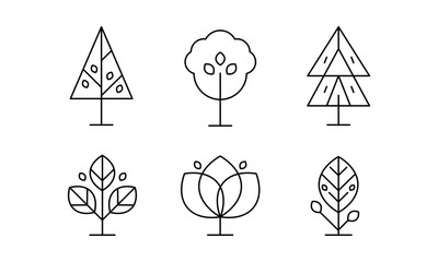 Collection of trees in linear style, decorative plants vector Illustration on a white background