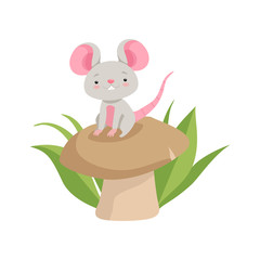 Cute mouse sitting on the mushroom, funny animal cartoon character vector Illustration on a white background