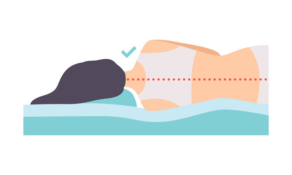 Woman lying on her side, seen from behind, correct sleeping posture for neck and spine, healthy sleeping position, orthopedic mattress and pillow vector Illustration