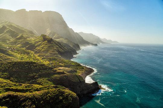Green hills and cliffs of Tamadaba Natural Park on the coast of the ocean near Agaete, Gran Canaria island, Spain