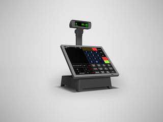 Touch cash register for goods rendering 3D render on gray background with shadow