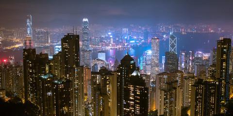 Hong Kong skyline at night from Victoria Peak ヴィクトリア・ピークから観た香港の夜景