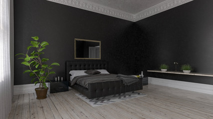 Spacious bedroom with black interior