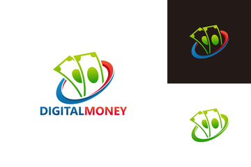 Digital Money Logo Template Design Vector, Emblem, Design Concept, Creative Symbol, Icon