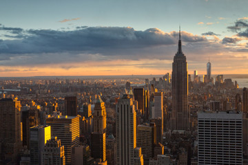 Cityscape with the Empire State Building, view from the Top of the Rock observation deck at Rockfeller Center, Manhattan, New York City, USA