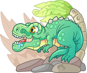 Cartoon cute dinosaur Tyrannosaurus Rex, funny illustration