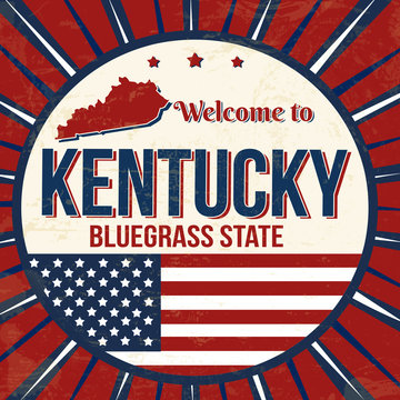 Welcome to Kentucky vintage grunge poster