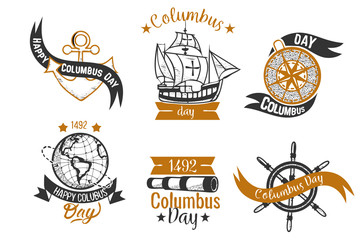 Happy Columbus Day logo sign flat set