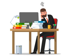 A tired worker is sitting at the table. Vector flat illustration.