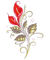 Calla Lilien mit Sternen, Schnörkeln und Blättern. Filigranes und florales Design für den Frühling und Sommer.