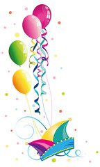 Karneval Narrenkappe Luftschlangen Luftballons Konfetti Fasching