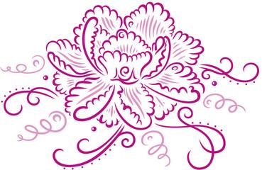 Schöne Tribal Tattoo Pfingstrose mit filigranen Schnörkeln. Pink.
